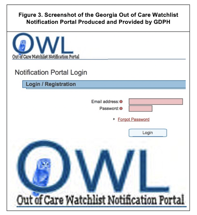 Screenshot of the Georgia Out of Care Watchlist Notification Portal Produced and Provided by GDPH