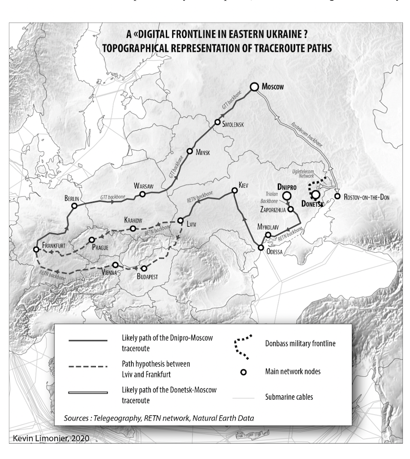 Topographical representation of traceroutes