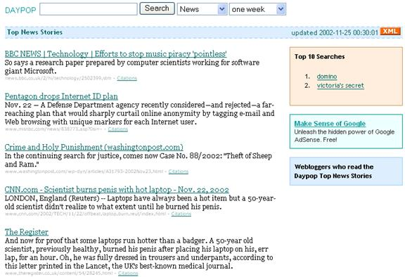 Figure 1: A typical top news page in the Daypop archive