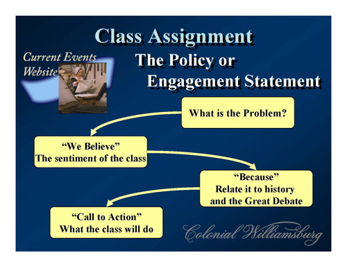 Figure 4: Students will create a policy or engagement statement for every current events activity