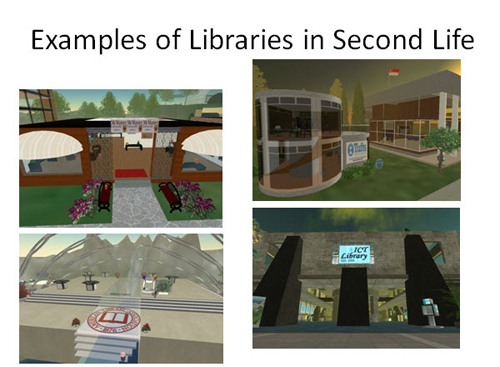 Figure 13: Clearwater Public Library in real life and in Second Life