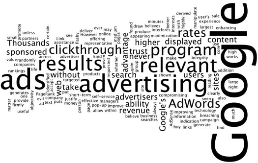 """Figure 2: A visualization of Google's extended statement accompanying its """"evil"""" motto shows a focus on advertising policy, not a general statement on morality"""