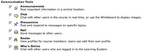 Figure 3: Blackboard CE 6 communication tools