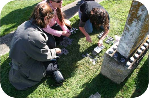 Figure 6: Players dividing chips for a social gathering at a cemetery