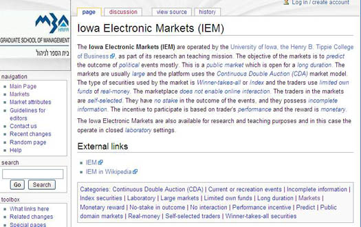 Figure 2: A screenshot from the P-MART wiki depicting the IEM structured narrative