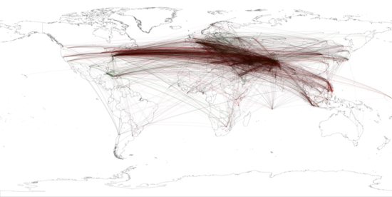 Figure 14: Global geocoded tone of all Summary of World Broadcasts content January 1979-April 2011 mentioning bin Laden