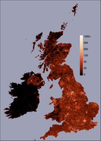 Figure 1: Density of Geograph photos