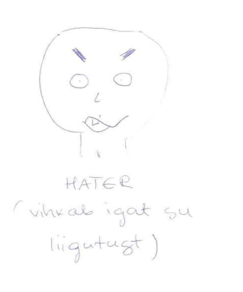 Figure 7: An example of a student sketch illustrating the Hater