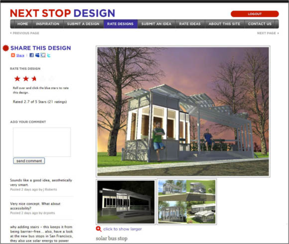 Screen shot of a rating page for a user-submitted bus stop shelter design