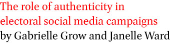The role of authenticity in electoral social media campaigns by Gabrielle Grow and Janelle Ward