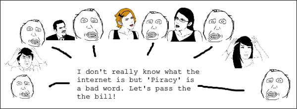 A user-created rage comic expresses Reddit's dissatisfaction with the decision-making process of Congressional representatives