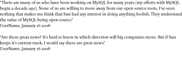 Slashdot postings about the Sun acquisition