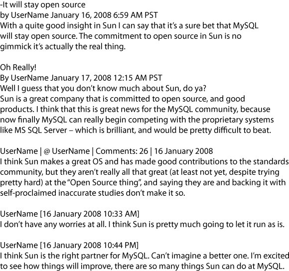 User comments on news about the Sun acquisition