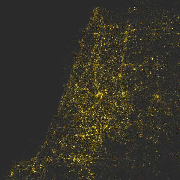 Plot of location metadata for Tel Aviv photos over a three-month period