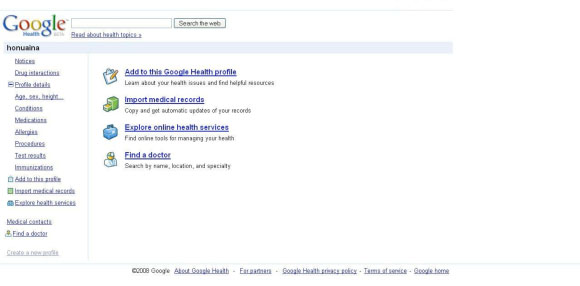 Opening screen of the Google Health PHR