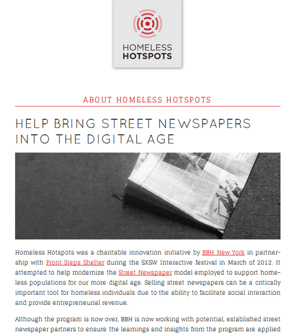 Screen capture of Homeless Hotspots Project Web site