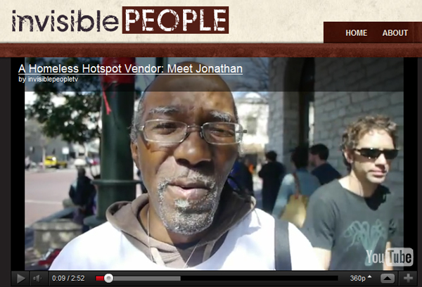 Screen capture of Homeless Hotspots vendor Jonathan