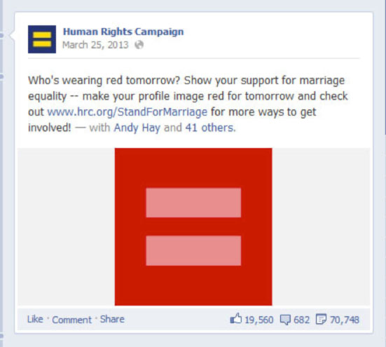 The Human Rights Campaign's March 2013 Facebook post