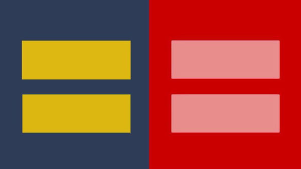 The original (left) and modified (right) Human Rights Campaign logos