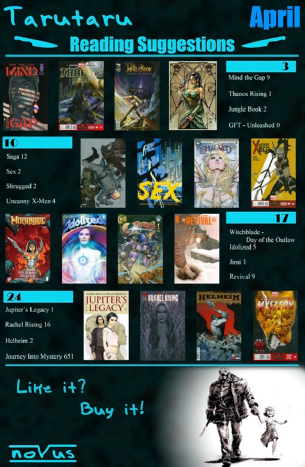 In this tag appended to Jungle Book Last Species #2 (2013), scanner Tarutaru draws attention to titles from DC, Marvel, Dark Horse, and other publishing houses and exhorts readers to purchase them legally
