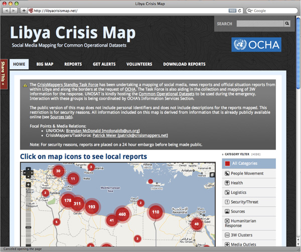 The Libya Crisis Map on the Ushahidi mapping platform