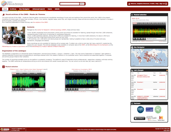 Screenshot of the Musee de l'Homme audio archives database home page