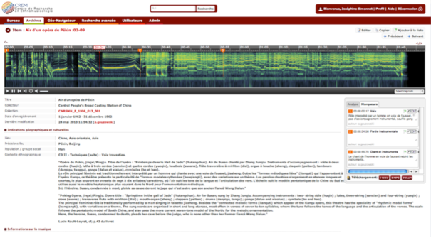 Screenshot of the spectral view of a song from an Opera of Beijing performance