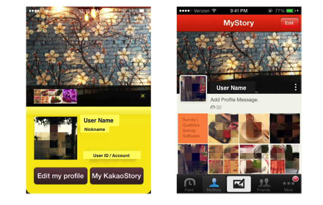 Screenshots of profile page of KakaoTalk (left) and MyStory page of KakaoStory (right)