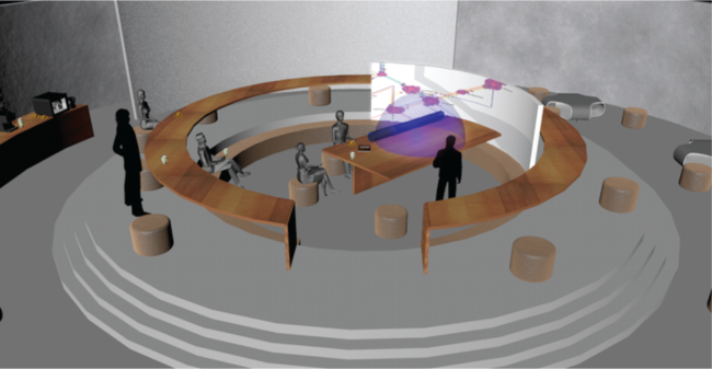 A hypothetical future civic deliberation space