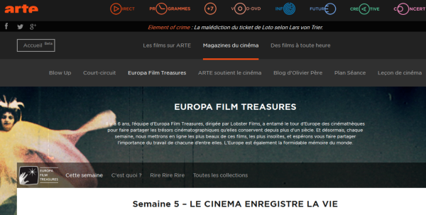 Europa Film Treasures' new home on the ARTE network as of November 2014