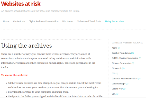 Screenshot of Sanjana Hattotuwa's Sri Lankan archive Web site, Sites At Risk