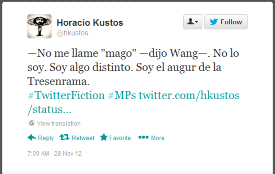Tweet as part of MuchoPasados, the Twitter Fiction Festival contribution of Alberto Chimal