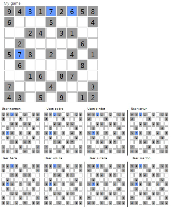 User interface for the Facebook Sudoku experiments