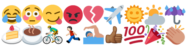 Examples of emoji characters used in Twitter