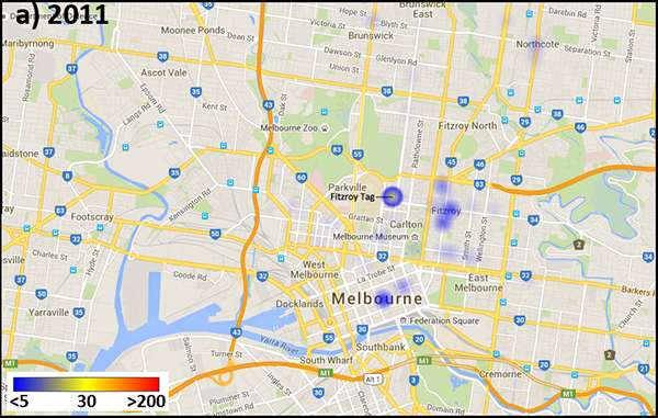 Image density heat map of Instagram media tagged with #MelbourneStreetArt, 2011