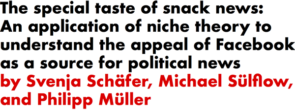 The special taste of snack news: An application of niche theory to understand the appeal of Facebook as a source for political news by Svenja Schafer, Michael Sulflow, and Philipp Muller