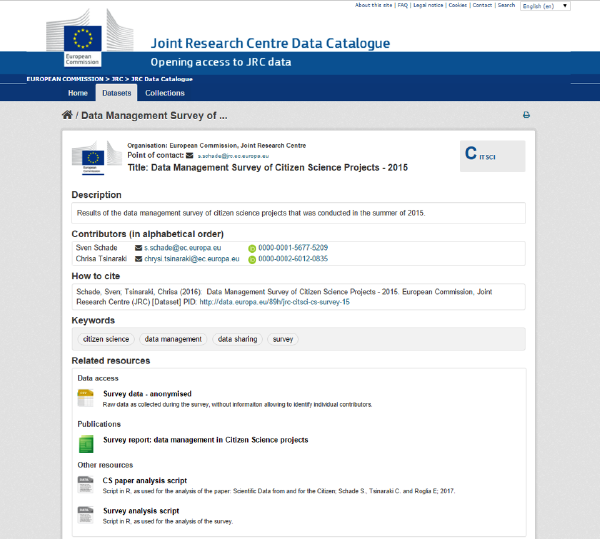 Screenshot of the survey metadata as published in the JRC Data Catalogue