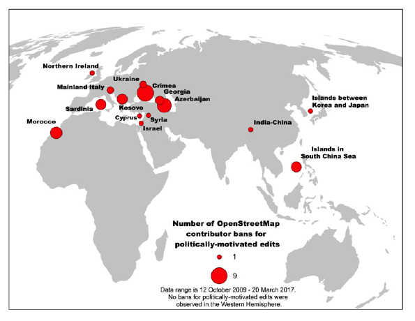 Locations where politically motivated edits led to contributor bans in OpenStreetMap
