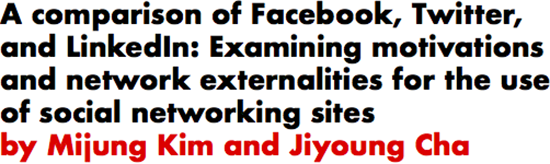 A comparison of Facebook, Twitter, and LinkedIn: Examining motivations and network externalities for the use of social networking sites by Mijung Kim and Jiyoung Cha