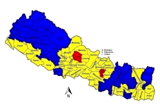 ICT clusters for Nepal's 75 districts