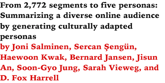 From 2,772 segments to five personas: Summarizing a diverse online audience by generating culturally adapted personas by Joni Salminen, Sercan Sengun, Haewoon Kwak, Bernard Jansen, Jisun An, Soon-Gyo Jung, Sarah Vieweg, and D. Fox Harrell