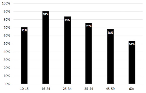 Percent of individuals using SNS by age groups