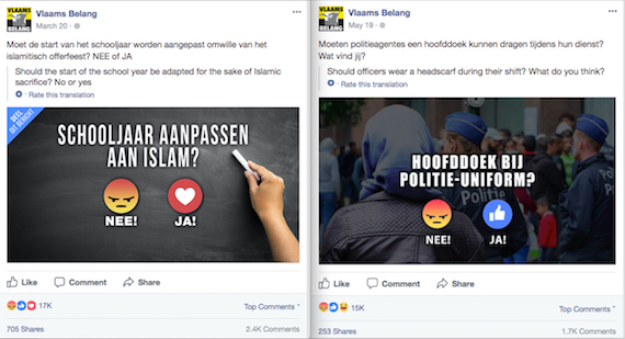 Top two posts that received more Angry Reactions in Vlaams Belang's Facebook page