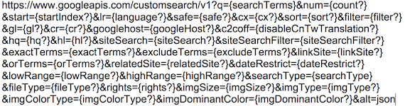 The official Google search API with various possible fields